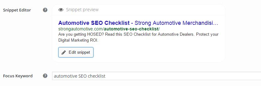 Auomotive seo checklist: Preview of Titles and Descriptions
